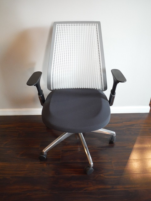At The Office 8 Series Task Chair Grey White Office