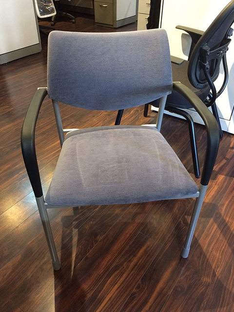 Steelcase Guest Chair Blue Upholstery Medium Wood