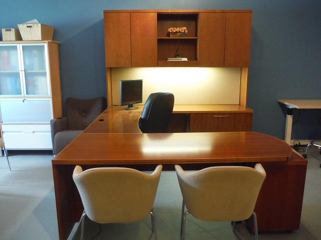 Gunlocke U Desk Solid Wood Office Furniture Albany Ny Workstation Consultants Llc