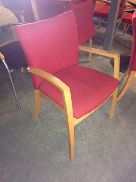 Kimball Red Upholstered Seat And Arms Guest Chair Office