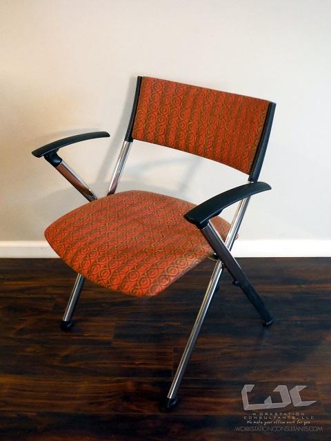 kusch co guest chair stack flip arms orange patterned upholstery metal frame office. Black Bedroom Furniture Sets. Home Design Ideas