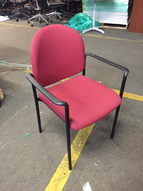 Source International Guest Chair Red Upholstered Seat And