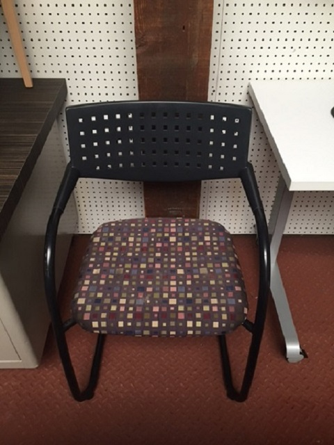 Vitra Visavis Guest Chair Purple Paisley Upholstery